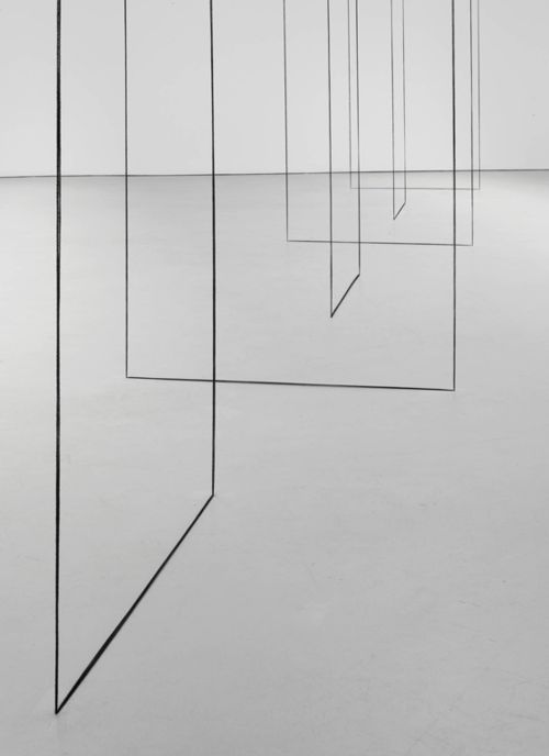 Fred Sandback, Detail of Untitled (Sculptural Study, Six Part Construction) 1977