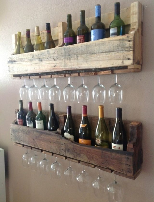 Looks like old pallets made into wine holders