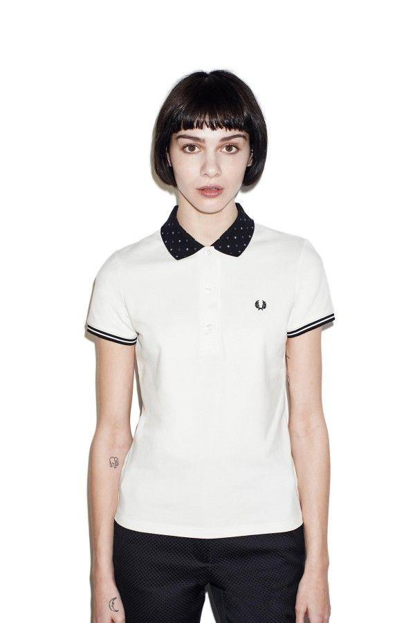 Polka Dot Collar Pique Shirt
