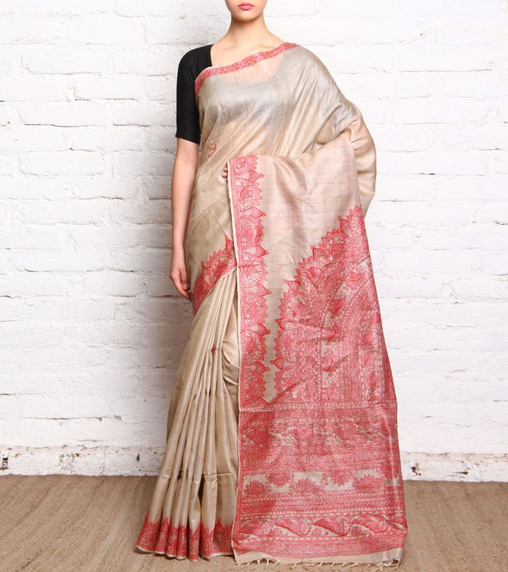 Red Madhubani Tussar Silk Saree