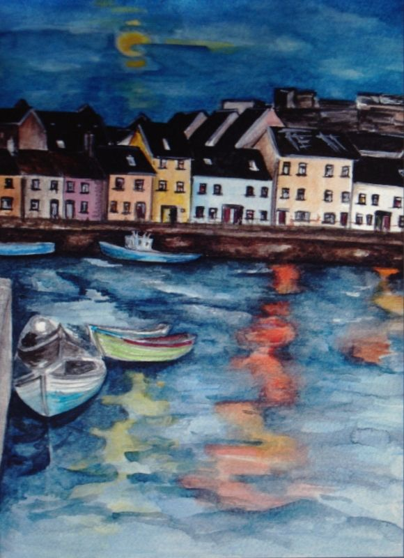 The Long Walk Sunset by Fiona Concannon on ArtClick.ie Irish Seascape Watercolour Art Galway