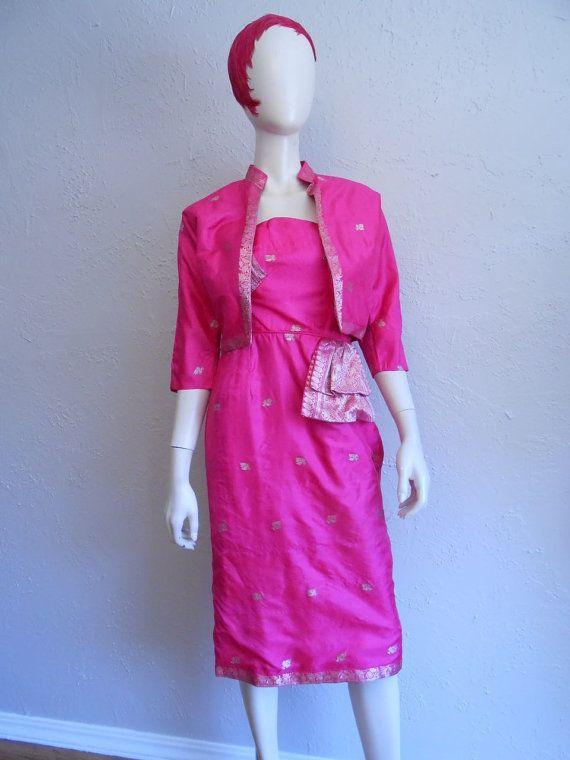 A Night Out in Mumbai - 1950s Hottest Hot Pink Silk Sari Inspired Wiggle Dress w/Matching Bolero