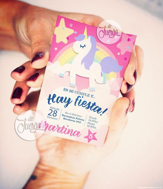 Unicornio Invitación cumpleaños Imprimible Personalizada. Tarjeta unicornio Rosa de DeJuerga en Etsy