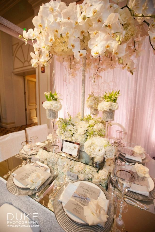 All White Floral Table Decoration for a Wedding   Butterfly Floral and Event Design   Duke Photography   I Do! Bridal Event for the Stylish Bride