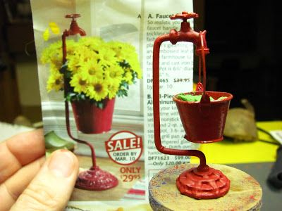 NOT for outdoor gardens but an AWESOME tutorial! Dollhouse Miniature Furniture - Tutorials | 1 inch minis: How to make a faucet planter and daisies