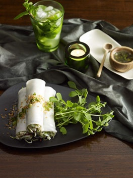 Steamed Noodle Rolls With Crab, Ginger And Spring Onion.
