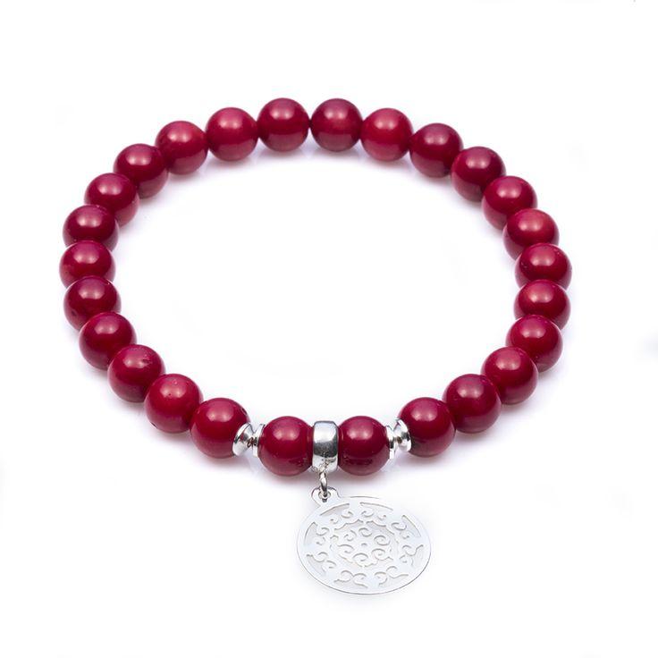 Koral czerwony z rozetą Aisza (90pln)   #Lapide #inspiracje #moda #kamienienaturalne #biżuteria #bransoletk i#dodatk i#srebro #wiosna #jewellery #jewelry #bransoletka #lifestyle #stars