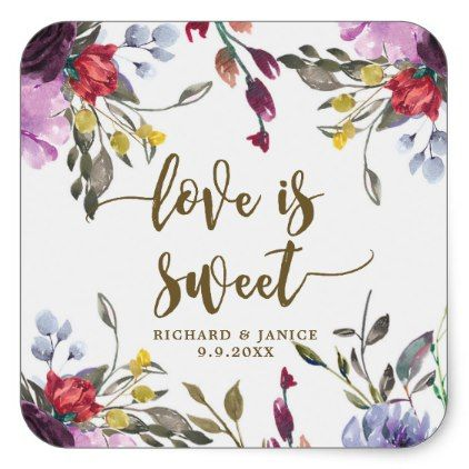 wildflower floral love is sweet sticker wedding - floral style flower flowers stylish diy personalize