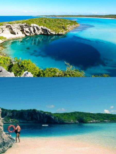 Dean's Blue Hole (an underwater sinkhole) is the deepest blue hole in the world. At 202 meters (663 feet) it's one of the Bahamas' most popular free-diving sites.