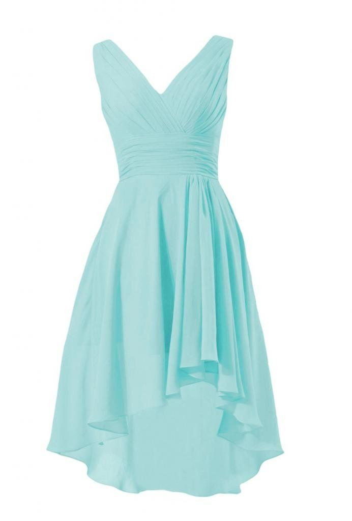 DaisyFormals Short High-Low Formal Dress V-Neck Chiffon Bridesmaid Dress(BM2422)- Aqua Blue