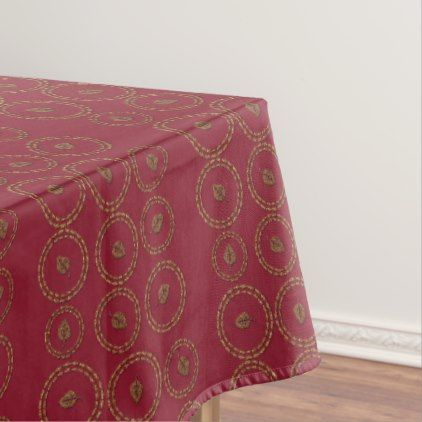 Deep Burgundy Red  Leaf Pattern Holiday Tablecloth - kitchen gifts diy ideas decor special unique individual customized