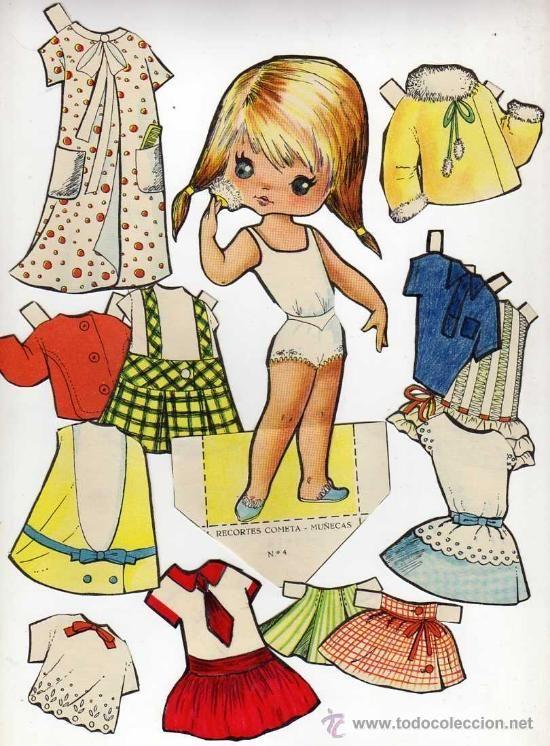 Antiguo recortable de muñecas. Cometa. Nº 4. Recortado en - Foto 1