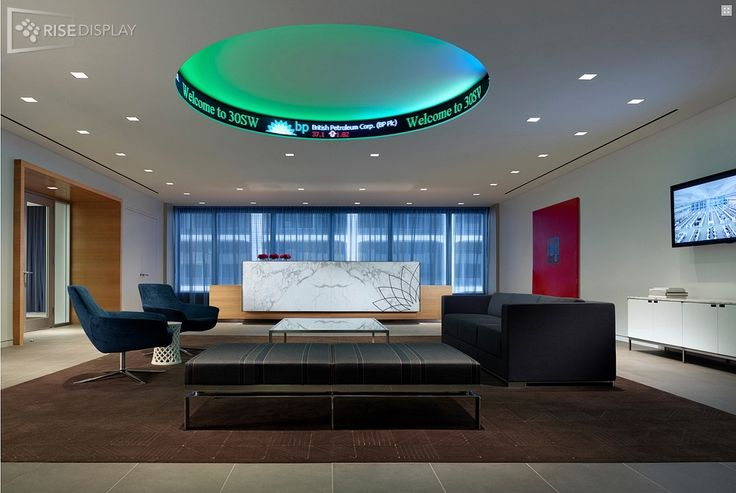 Cool circular LED ticker in the lobby for BP in Chicago.  Great way to welcome guests and create a unique atmosphere with LED.