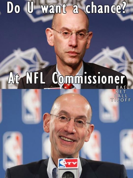 Adam Silver NFL Commissioner.  It is rumoured overtures were made to see if he was interested! What was his response?