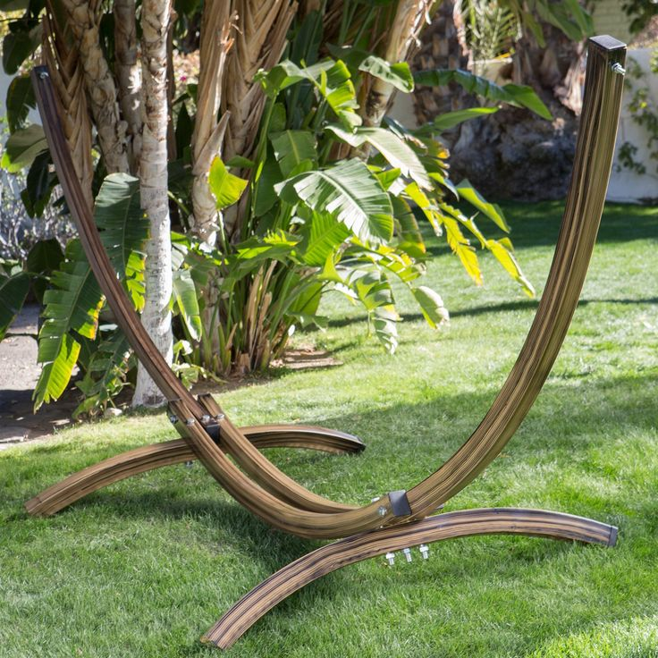 Have to have it. Island Bay Faux Woodgrain Metal Arc Hammock Stand - $254.98 @hayneedle