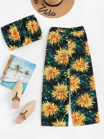 Floral Print Tube Top With Pants Beach Weddings Pool Party Vip Room In 2018 Pinterest Floral Prints Tops And Floral