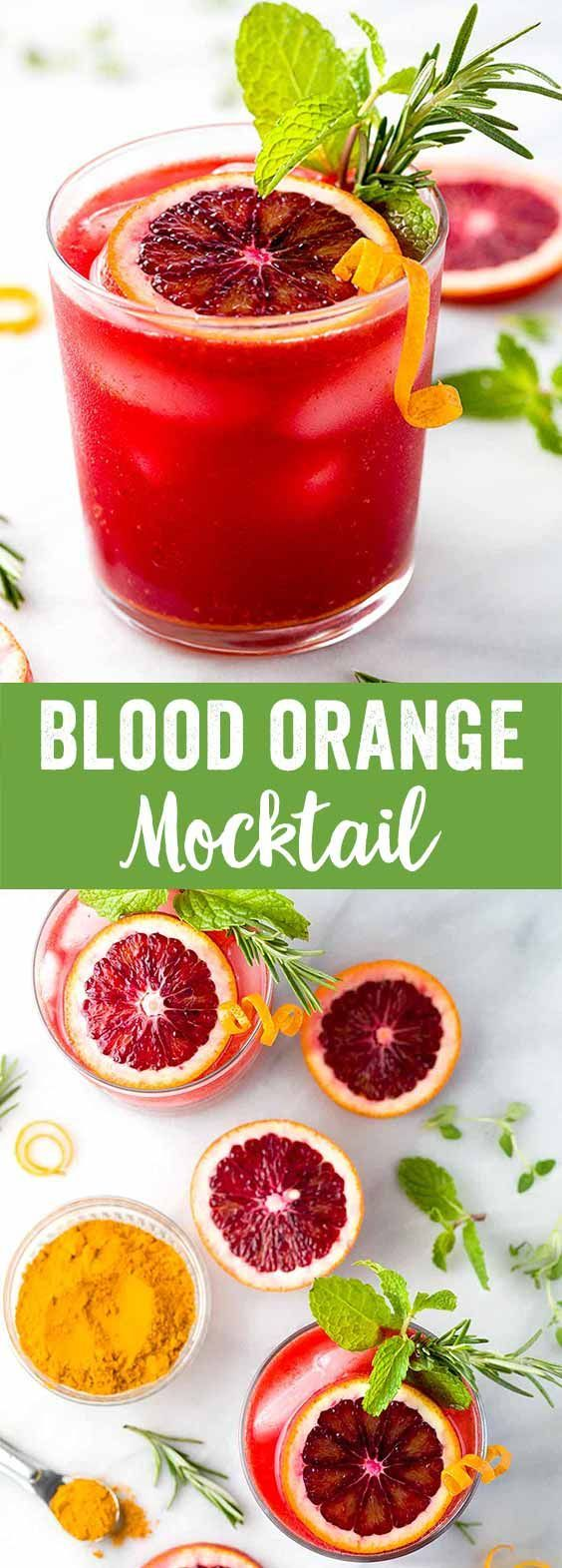 Sparkling Blood Orange Mocktail - A refreshing drink recipe packed with healthy nutrients! Each sip infuses turmeric, ginger, fresh squeezed juice, mint, and rosemary.  via @foodiegavin