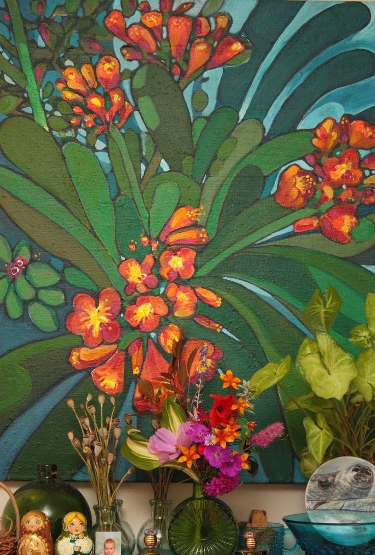 By: Satu Laaninen  Herkkupurkki: acrylic painting, painted flowers, kliivia, taide
