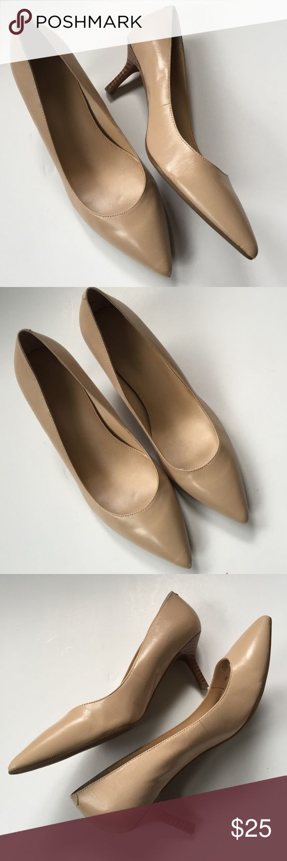 """EUC Marc Fisher leather heels Excellent condition; This is the perfect neutral pump! Soft creamy tan leather with 2 1/2"""" heel. Smoke-free/pet-free home. Marc Fisher Shoes"""