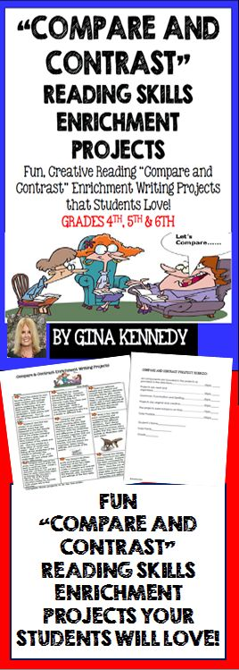 """With the """"Reading Compare and Contrast Skills Enrichment Projects"""", your students will love taking their compare and contrast reading skills one step further with these fun creative writing enrichment projects.  The projects are excellent for advanced learners, early finishers or whole class fun. The projects involve anything from comparing common poetry, animals and even movie characters.$"""