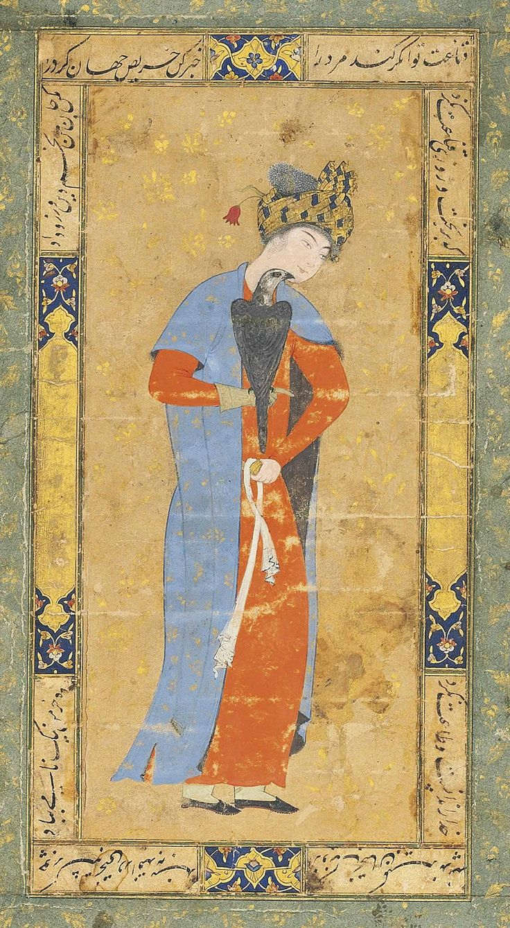 A Youth with His Falcon (17th Century CE Safavid Miniature Painting, Iran)