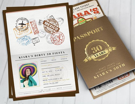 Passport And Ticket Birthday Invitation Travel Party