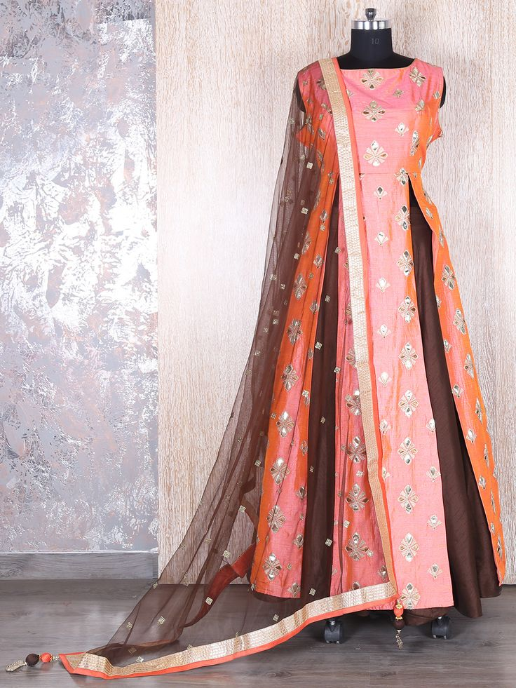 Peach Brown Designer Indo Western