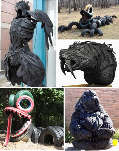 tire art on the playground | Used Tires: Recycled Tire Rubber Art and Design | Shou Fi Ma Fi