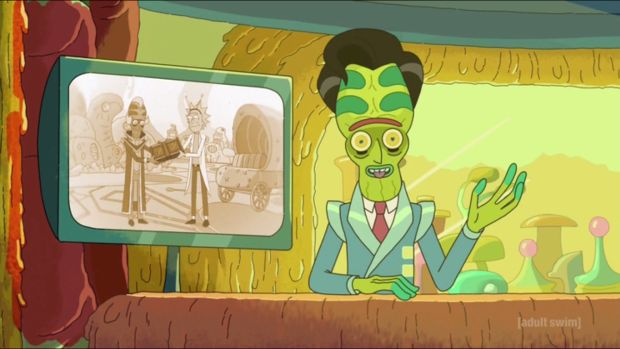 Rick and Morty S02E06 The Ricks Must Be Crazy Rick Newscast