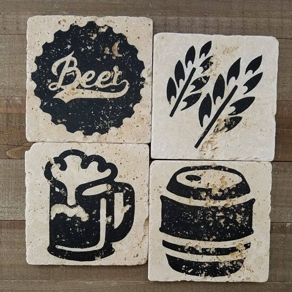 BEER COASTERS Father's Day Gift Drink Coaster Stone