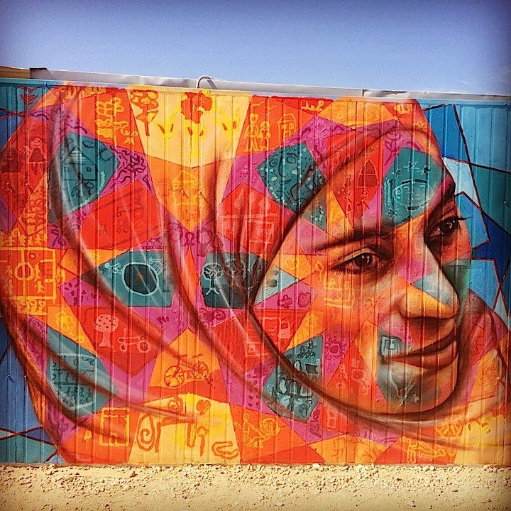 Joel Bergner street art in the Za'atari Syrian Refugee Camp, Jordan.