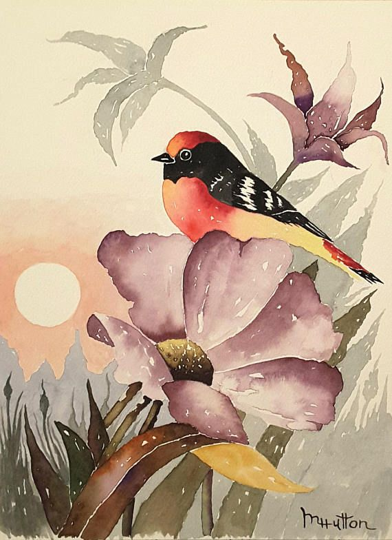 Original Bird And Flower Watercolor Print Dawn Landscape