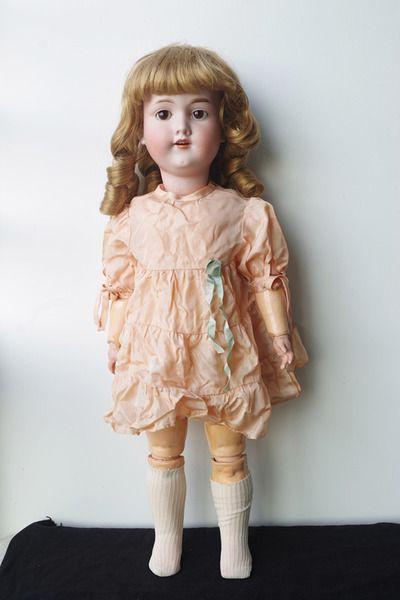 古董娃娃 德国阿尔芒马赛瓷娃 木质关节体 1900S