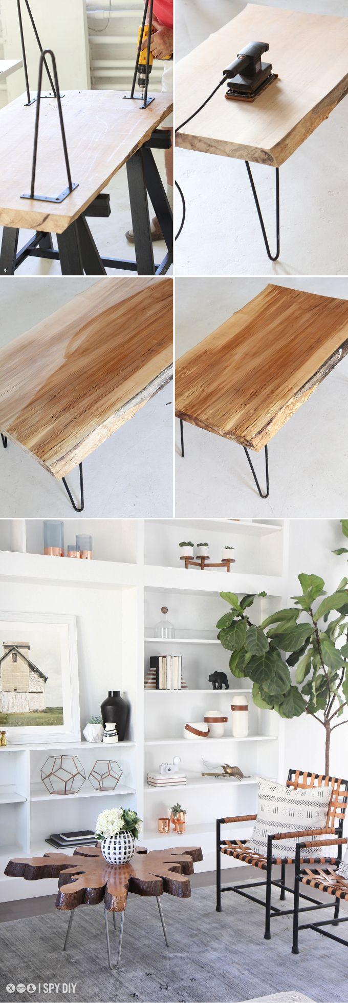 steps diy wood slab hairpin leg coffee table ispydiy i spy d