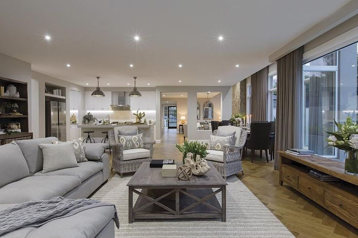Spacious family room in the Brookwater design with a Classic Hamptons World of Style.