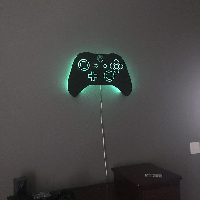 Led Lighted Xbox Controller Wall Art Video Game Art Game Etsy Led Color Changing Lights Game Room Decor Video Game Art