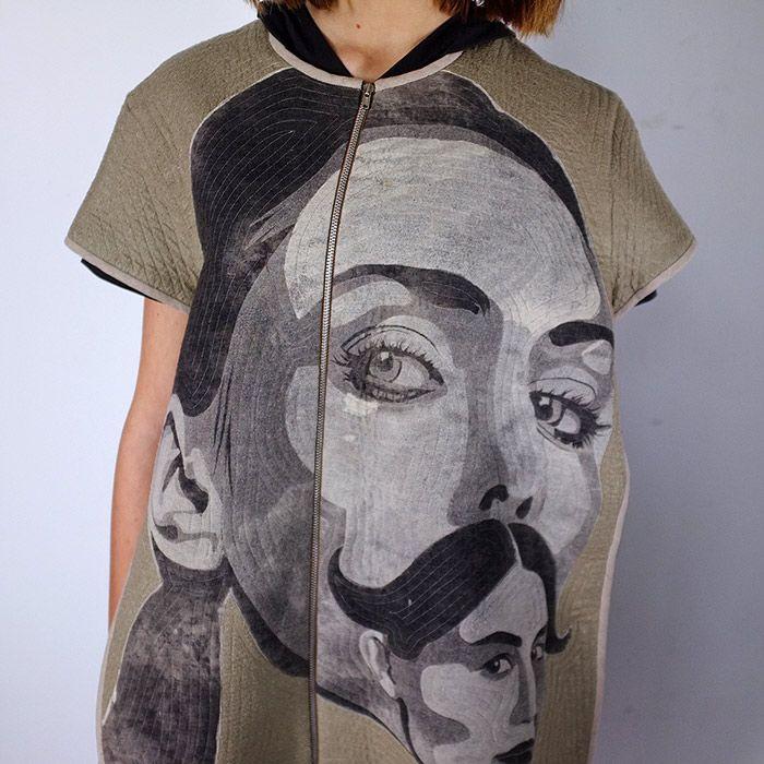 Masha Lamzina: Vest With Giant Moustached Faces. #art #fashion #mashalamzina