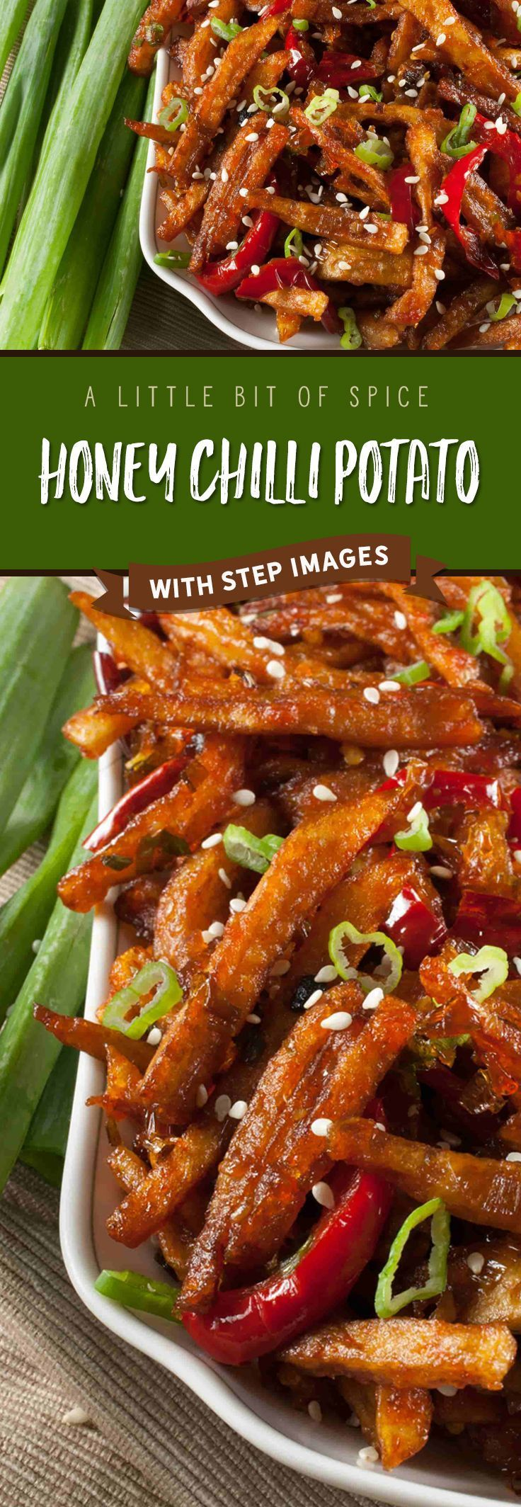 A popular Indo-Chinese appetizer. Crispy Fried Potatoes cooked with spring onion and bell peppers in a sweet and spicy sauce.