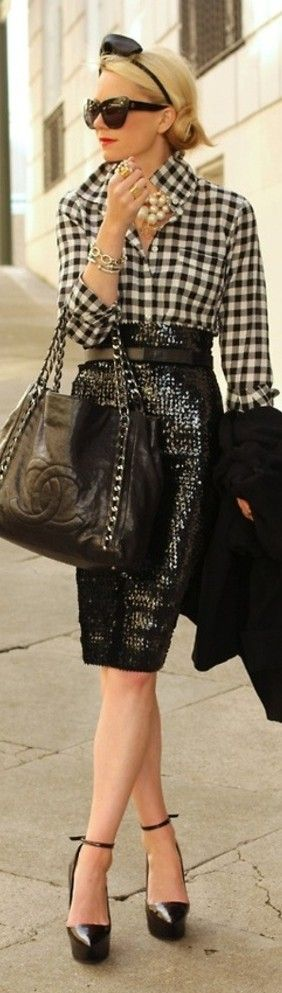 Black & white checkered blouse, over sized pearl necklace, black sequined pencil skirt, big sunglasses, large black leather Chanel satchel, platform pumps. This look is impossibly chic & modern!
