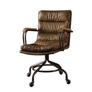 Harith High Back Leather Executive Chair Sport Brella Recliner Acme Office Vintage Whiskey Top Grain Furniture Hedia Color