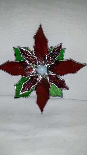 "#stainedglass ornament poinsettia 6"" Sq ... $15 + s/h"