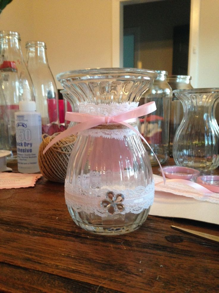 Baby Shower hand decorated vase with lace and pink ribbon. Made by Chrissy @ Sassy Creative Design