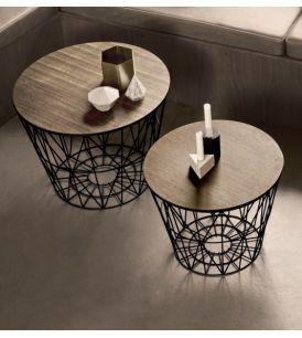 ferm Living - Leuk idee, houten blad op mand van ijzerdraad
