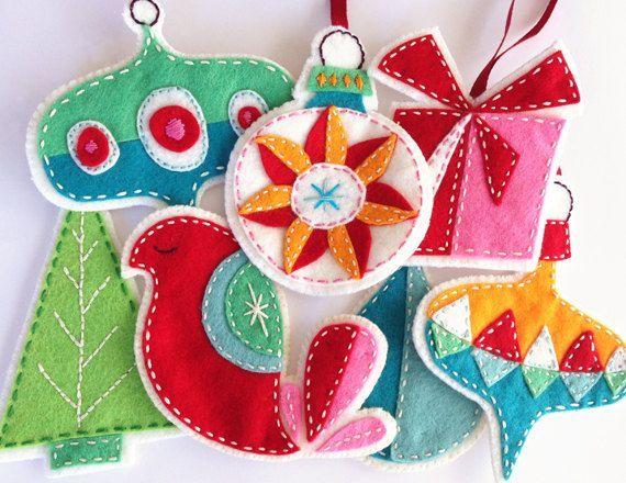Felt Christmas Ornaments PDF Pattern Embroidered por ericahite