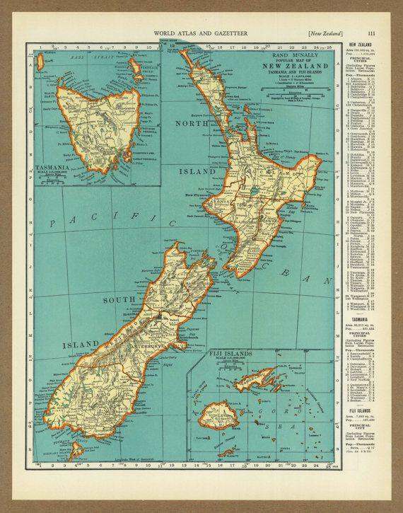 Vintage map of New Zealand Tasmania Fiji from by placesintimemaps, $14.00