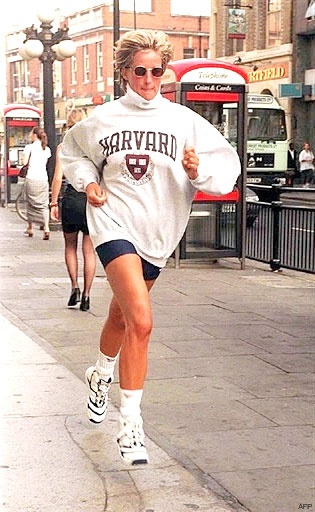 Princess Diana - she's either exercising or on the run from the ever-present photographers.