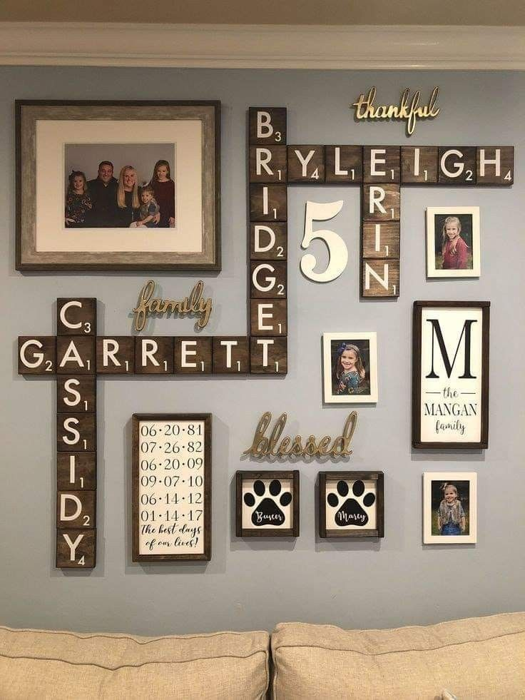 Scrabble Wall With Family Names Family Wall Decor Decor Family Pictures On Wall