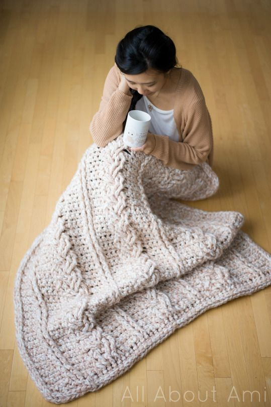 Chunky Braided Cable Blanket.. free pattern.. All about Ami.. This calls for a #7 yarn.. maybe could use Bernat Blanket.. a #6..