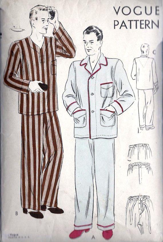 1940s Men's Pajamas Vintage Sewing PatternTwo by MissBettysAttic, $18.00
