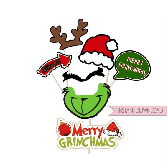 PRINTABLE Grinchmas inspired photo props printable holiday